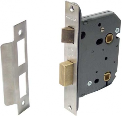 Mortice bathroom lock, 57 mm lock centres, 57 mm backset, 8 + 5 mm followers