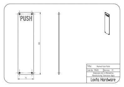 Push Plate with ''PUSH'' Text, 300mm x 75mm