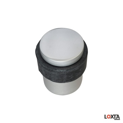 PR72010 Cylindrical Door Stop with Rubber Door Protector, Aluminium
