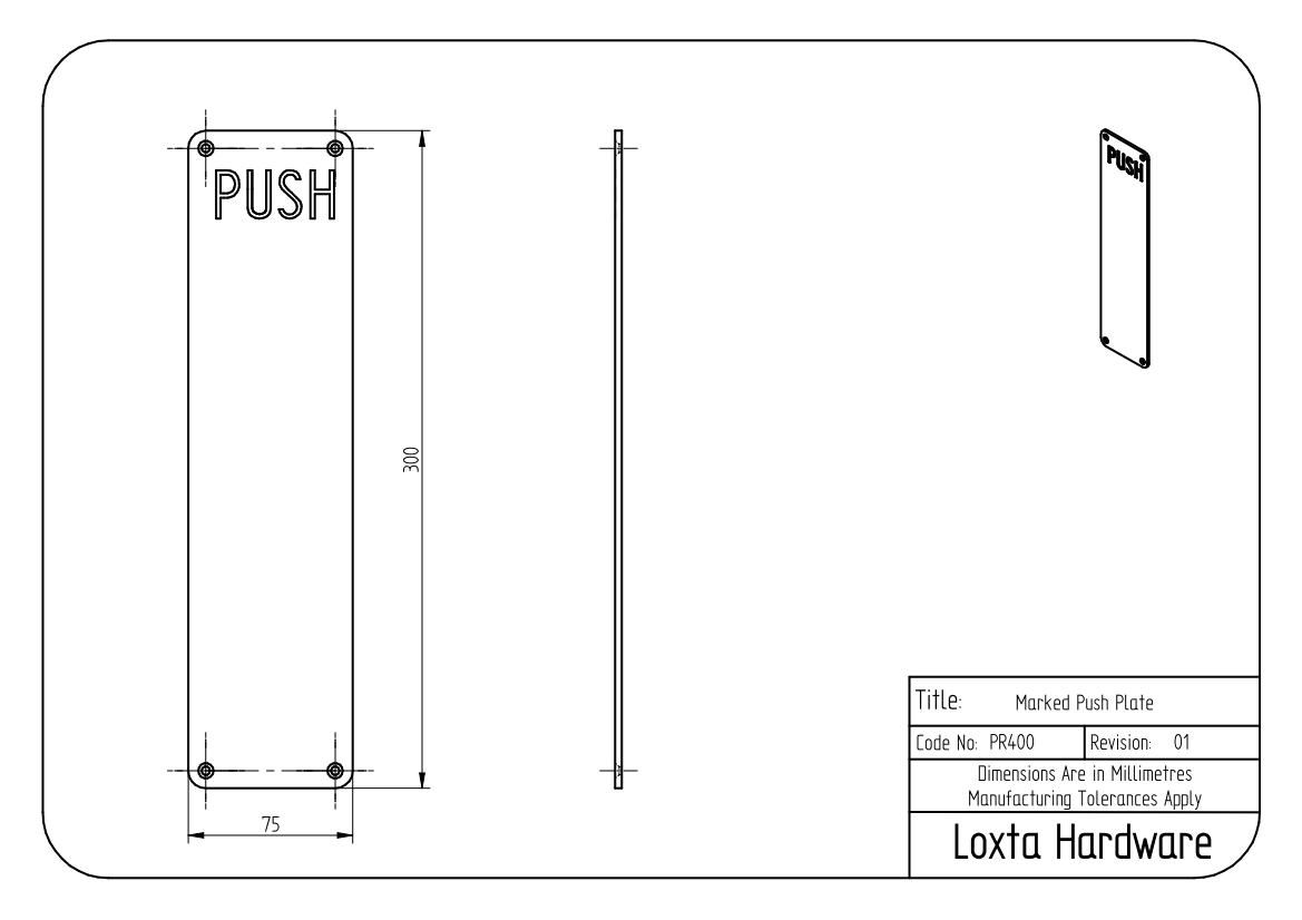Pull Handle On Plate With Quot Pull Quot Text 300mm X 75mm