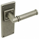 Lamont Pewter Latch Door Handles on Backplate | Hafele