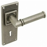 Lamont Pewter Lock Door Handles on Backplate | Hafele