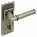 Lamont Pewter Bathroom Door Handles on Backplate | Hafele