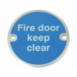 ''Fire Door Keep Clear'' Mandatory Door Sign
